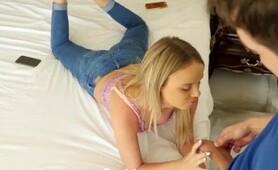 NANNYSPY Busty babysitter swallows loads to save her job
