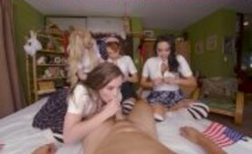 VRBangers Kenzie Reeves and 3 college girls fucking one lucky guy